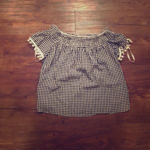 NWT-love, fire gingham off the shoulder blouse